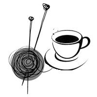 Garnnystan med stickor och kaffekopp